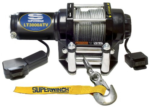 Superwinch 1130220 LT3000ATV 12 VDC winch 3,000lbs/1360kg with roller fairlead, mount plate, handlebar rocker switch, and handheld remote