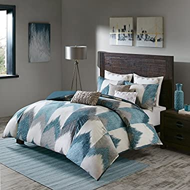 Ink+Ivy Alpine Duvet Cover King/Cal King Size - Aqua, Grey, Ivory, Pieced Chevron Duvet Cover Set – 3 Piece – 100% Cotton Light Weight Bed Comforter Covers