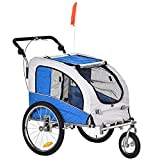 Aosom Dog Bike Trailer 2-in-1 Pet Stroller with Canopy and Storage Pockets, Blue