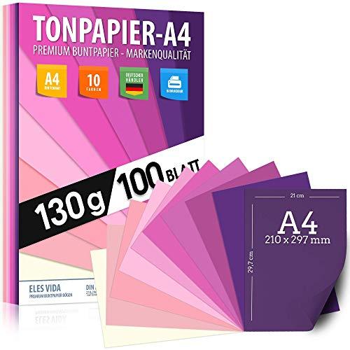 100 Stück Purpur TONZEICHENpapier A4 - 130g stark – Magenta Blätter – Bastel Bogen - Blau, Lila, Pink, Rot Violett Zeichenpapier, Pappe zum Basteln, Zeichenkarton - DIY Kreativ Zubehör für Kreatives