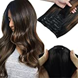 SWINGINGHAIR Remy Hair Extensions Clip in Human Hair Balayage 16 Inch 7pcs 120g Ombre Natural Black Mixed Chestnut Brown Real Human Hair Extensions Straight Full Head Thick Hair Extensions