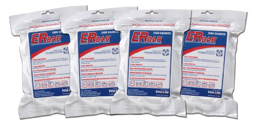ER Emergency Ration 1AQK-4P 2400 Calorie Emergency Food Bar for Survival Kits and Disaster Preparedness (Pack of 4)
