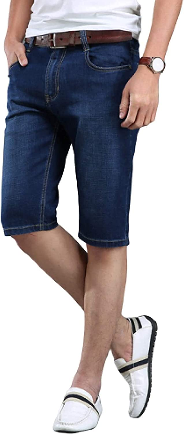 Andrea Spence Men's Regular-fit Slim Denim Shorts, Mid-Waist Stretch Loose Casual Thin Washed