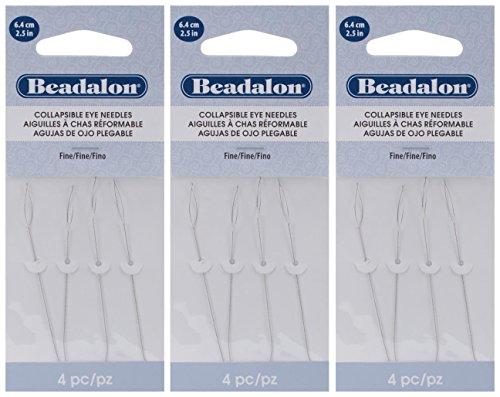 3-PACK - Beadalon Collapsible Eye Needles 2.5-Inch Fine 4 per Pack (in Rigid Pak TM mailer)