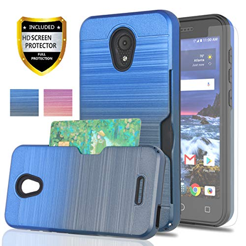 Alcatel 5044R Case,Alcatel IdealXCITE/Alcatel CameoX/Ideal Exite Phone Case with Phone Screen Protector,YmhxcY[Credit Card Holder][Not Wallet]Dual Layer Protective Cover For 5044R-GB Metal Slate/Blue