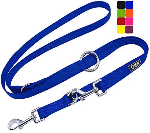 DDOXX Hundeleine Nylon, 3fach verstellbar, 2m | für kleine & große Hunde | Doppel-Leine Zwei Hund Katze Welpe | Schlepp-Leine groß | Führ-Leine klein | Lauf-Leine Welpen-Leine | XS, Blau