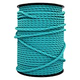 smartect Cable para lámparas de tela en color Turquesa - Cable textil trenzado de 3 Metro - 3 hilos (3 x 0,75 mm²) - Cable de luz con revestimiento textil