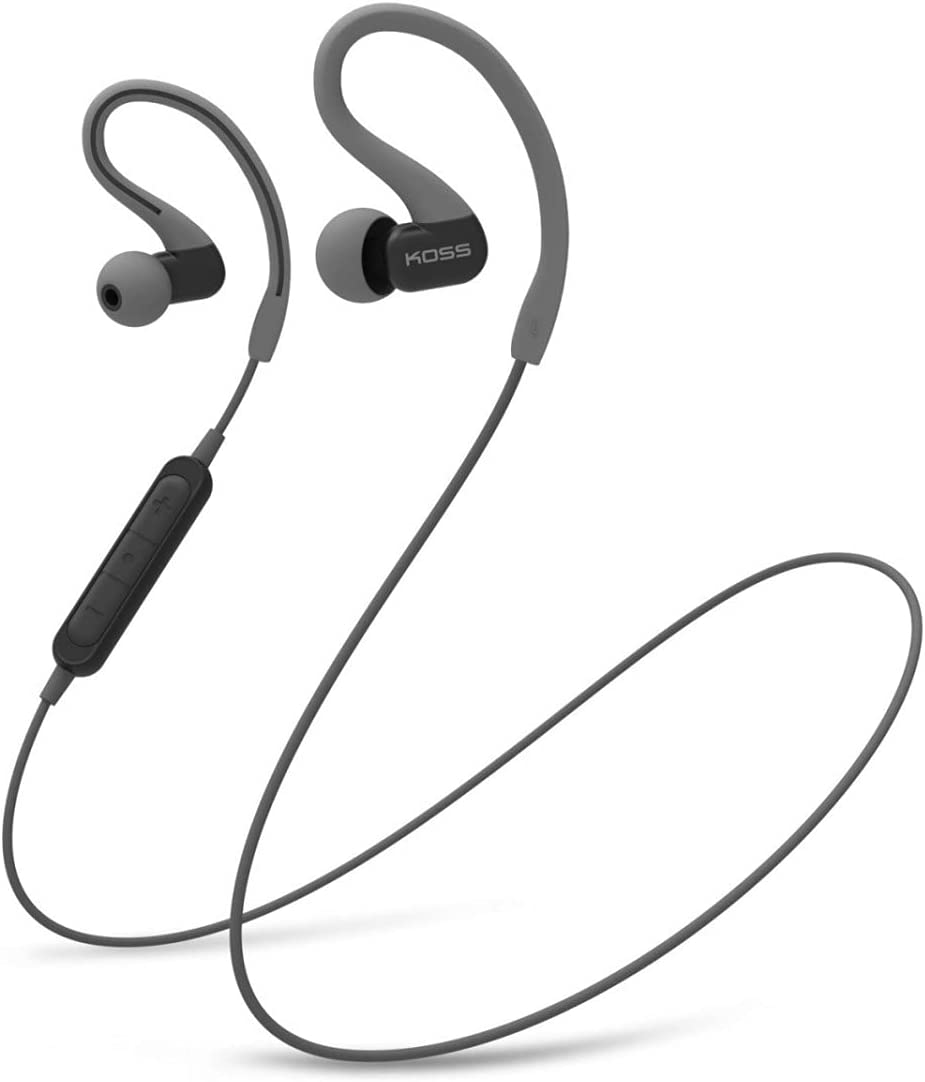 Koss BT232i Wireless Bluetooth Earclips, In-Line Microphone, Volume Control and Touch Remote, Sweat Resistant, Dark Grey and Black