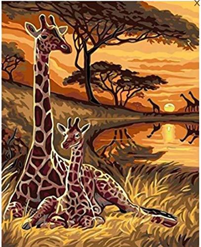 mnbhj Zahlen Vorgedruckt Leinwand Paint Works Malen Nach Zahlen Kit Für Erwachsene Kinder 16 * 20 Zoll Kreatives Kindergeschenk Bilder Von Giraffe Im Sonnenuntergang(Rahmenlos)