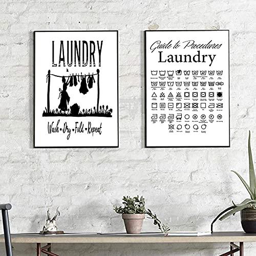 RuiChuangKeJi Cuadro de póster 2 Piezas 60x80 cm sin Marco lavadero guía de símbolos Pintura de Lienzo Cita de lavandería Cuadro de Pared baño decoración del hogar