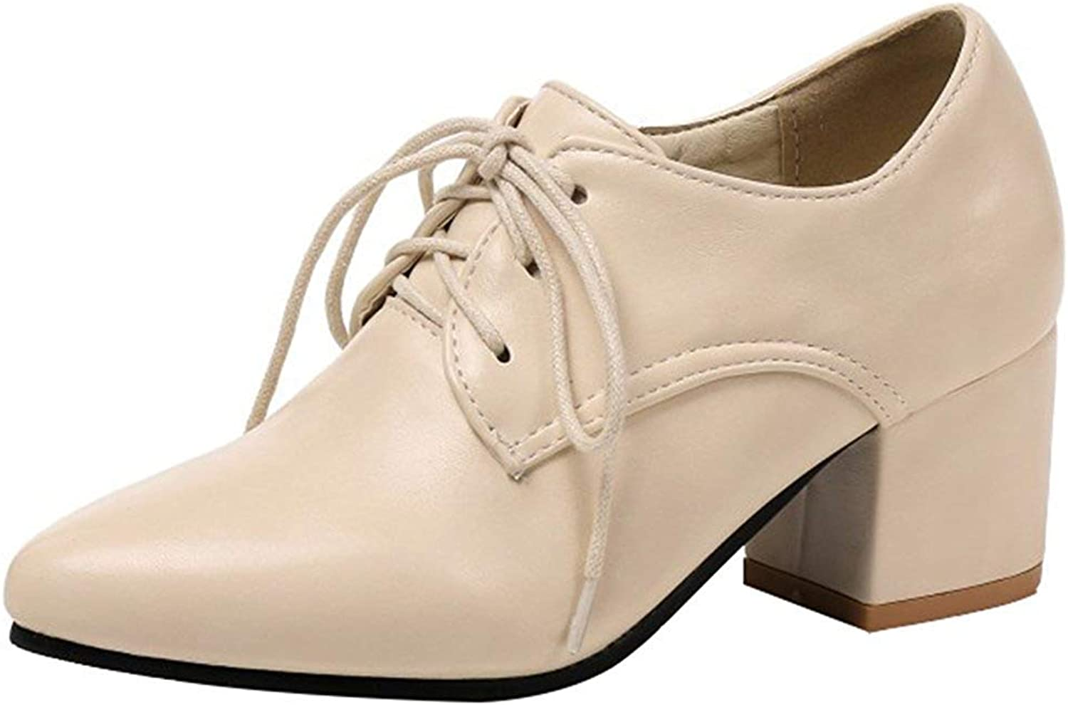 Ghapwe Women's Stylish Pointed Toe Low Top Block Medium Heels Lace Up Pumps shoes Beige 5.5 M US