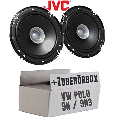 Lautsprecher Boxen JVC CS-J610X - 16cm Auto Einbauzubehör 300Watt Koaxe KFZ PKW Paar - Einbauset für VW Polo 9N 9N3 Front - JUST SOUND best choice for caraudio