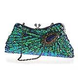 LUI SUI Womens Vintage Peacock Clutch Bag Antique Beaded Paillettes Sera Borsa turchese Eye Catching Borsa per le signore Wedding Prom da sposa