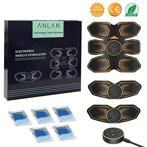 Elettrostimolatore per Addominali, Elettrostimolatore Muscolare, ABS Stimulator, ANLAN Addome/Braccio/Gambe/Waist/Massaggi-Attrezzi con USB Ricaricabile, 6 Modalità e 10 Livelli di Intensità