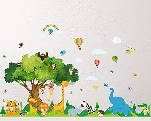 4 Pezzi Decalcomania Murale Animale Adesivi Murali Animali Autoadesivi Camera Bambini Adesivi Scene Zoo per Asilo Scuola Neonati Bambini Decorazione Stanza