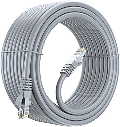MutecPower 50m Ethernet Cat5E Cavo di Rete UTP con Spina RJ45 per PC, LAN, Grigio 50 Meter