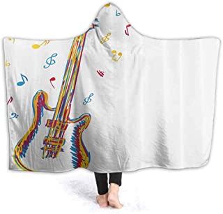 prunushome Stuffed Animal Blanket Doodle Style Guitar Art Kids Huggable Pillow and Blanket Perfect for Pretend Play, Travel, nap time 80W by 60H Inches(with Hooded)