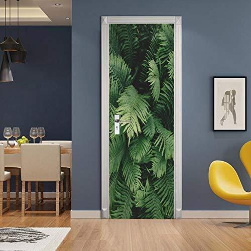 IDWX Etiqueta engomada de la Puerta 3D extraíble, Pegatinas de Puerta de plantación Verde Ambiental, Se Puede Utilizar para la decoración de Puertas de dormitorios y Salas de Estar 77 * 200 cm.