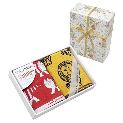 【包装紙ラッピング済】フェイスタオル 約34×80cm リサ・ラーソン カラフルシリーズ (包装紙ローズ)