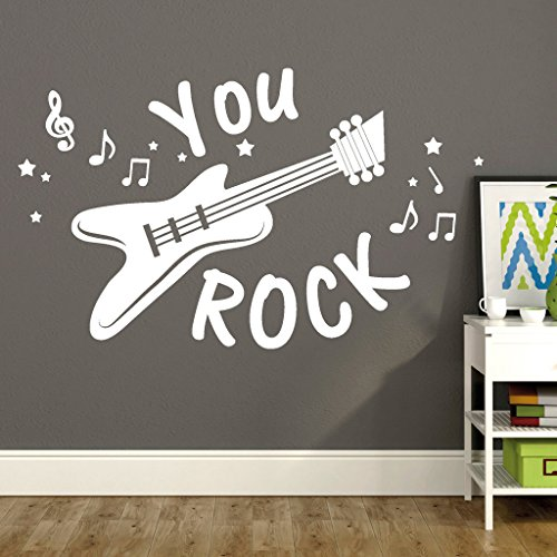 "Wandtattoo-Loft \""Schriftzug You Rock mit Gitarre, Noten und Sternen/Wandtattoo/Wandaufkleber / 54 Farben / 2 Größen/transparent / 55 cm hoch x 91 cm breit"