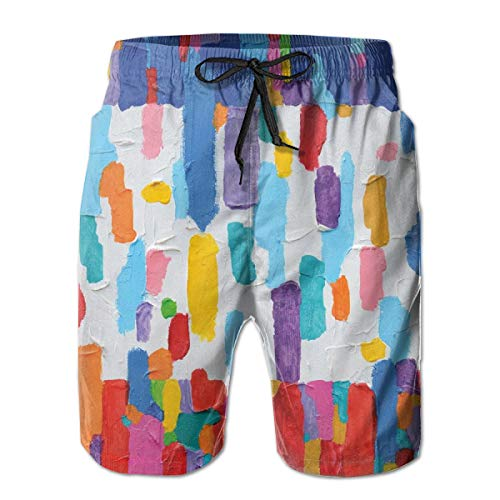 DHNKW Boys Swimming Shorts Funny Printed,Hand Made Colorful Abstract Painting Contrasting Colors French Flag Pattern Brush Mark,Quick Dry Beach Board Trunks with Mesh Lining