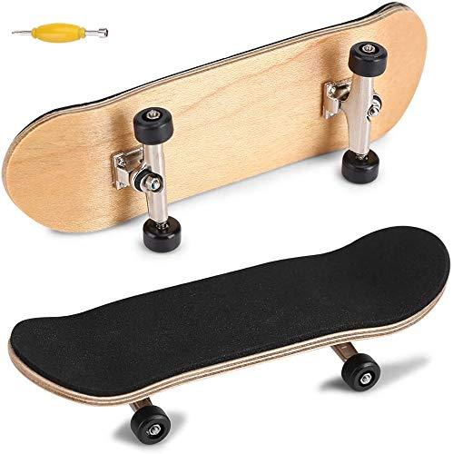 QNFY Finger Skateboard, Upgrade Mini Fingerboard Professionelle Mini Skateboards Ahorn Holz DIY Montage Skateboarding Skatepark Spielzeug Sport Spiele für Kinder Geschenk (Schwarz)