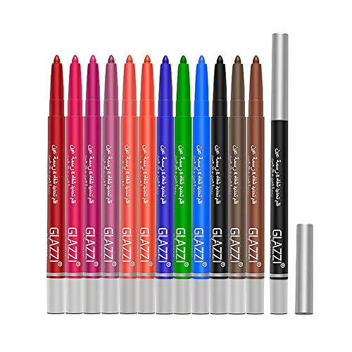 12 couleurs Eyeliner Set, crayon de fard à paupières, stylo de surligneur d'ombre à paupières, outil de maquillage cosmétique multifonctionnel étanche et sans bavure, 12pcs