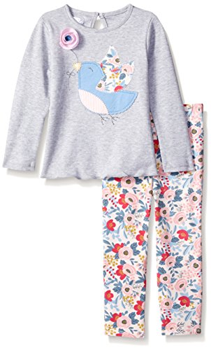 Mud Pie Baby Girl Two Piece Playwear Set Long Sleeve, Multi, 0-6 Months