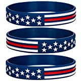 Sainstone Power of Faith Silicone Bracelets with American Flag Blue, Rubber Thin Red Line Wristbands Band Gifts for Men Women, Teens, Kids for American Patriots, Army and Sport Fans (Standard 8')