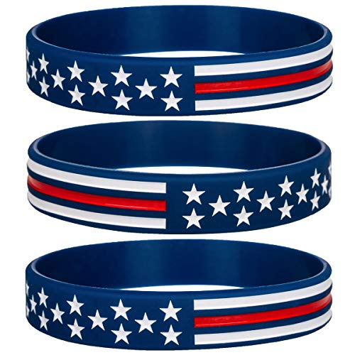 Sainstone Power of Faith Silicone Bracelets with American Flag Blue, Rubber Thin Red Line Wristbands Band Gifts for Men Women, Teens, Kids for American Patriots, Army and Sport Fans (Standard 8