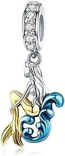 Charm in argento 925 con delfini, stelle marine, granchio, oceano, corallo blu, per creare gioielli, sirena.