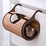 Cama radiador de bambú para gatos acogedor lugar para esconderse