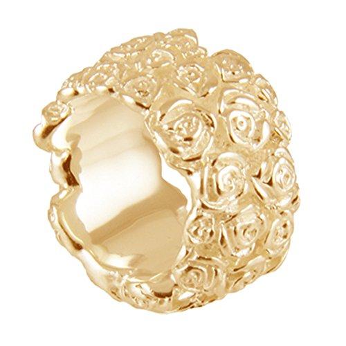 massiver Rosen Ring hochwertige Goldschmiedarbeit aus Deutschland - 17 mm Breite (Sterling Silber 925, hochwertig vergoldet) schwerer Rosenring - Ring mit Rosen Damenring
