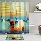 YCHY Shower Curtain and Bath Mat Set,Colorful Nautical Vintage Pirate Ship Watercolor Sailboat Turquoise Yellow Blue,72X72in Bathroom Shower Curtains with 29.5x17.5in Bath Rugs Sets with Hooks