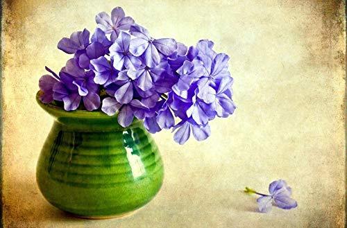 Puzzle 1000 Stück, Erwachsene Alte Männer Holzpuzzle, Für Kinder Lernspielzeug, Geschenk,Lila Phlox Blumen Vase Blume 75X50Cm
