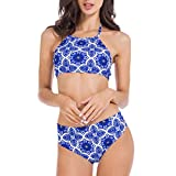 Lomantise Womens Bikini Swimsuits Halter High Neck Bathing Suits for Teen Girls Swimwear Blue S