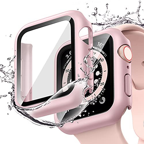 [2 Pack] Goton Waterproof Case Compatible for Apple Watch SE Series 6 /5 /4 40mm with Screen Protector, PC Matte Hard HD Tempered Glass Full Face Cover Bumper Accessories for iwatch Women Men