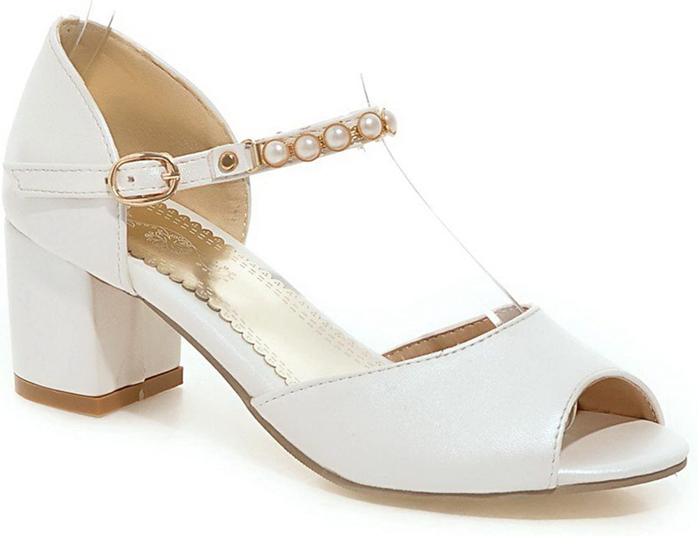 WeenFashion Women's Open Toe Buckle Pu Solid Kitten Heels Sandals