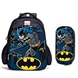 3D Batman Sacchetto di Scuola 16 Pollici Supereroe Batman Sacchetto di Scuola Ortopedico Scuola Sacchetto di Scuola per Bambini Zaino Borsa per Bambini Ragazzi e Ragazze Zaino Scuola Viaggio