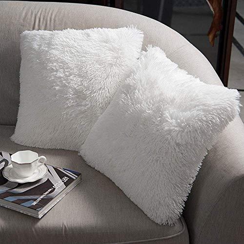 XunHe 2er Set Flauschig Kissenbezug, Soft Künstlich Throw Kissenbezüge Set Plüsch DekokissenSüß Moderne Kissenhülle 45x 45cm Weiß