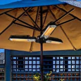 HOLITU Electric Patio Parasol Umbrella Heater,Folding Outdoor Electric Infrared Space Heaters With 3 Heating Panels For Pergola Or Gazabo,Black