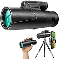Glandu Optics Zoom HD 12x50 IPX7 Waterproof Monocular with Smartphone Adaptor Tripod