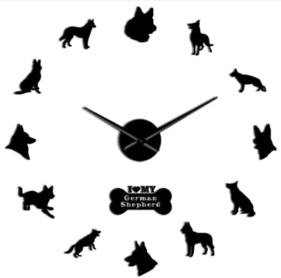 Lifme German Shepherd DIY Wall Clock Giant Wall Clock with Big Needles Mirror Effect Alsatian Wolf