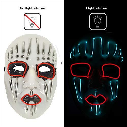 AnseeDirect Mascaras Carnaval Slipknot Mascara Clown Mask Mascara Hombre LED Glowing Mask para Halloween Festival Party Costume Cosplay Masquerade Show