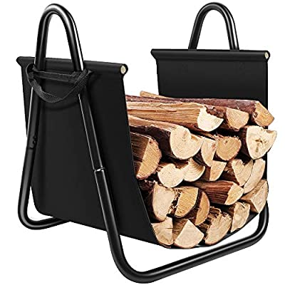 Amagabeli Fireplace Log Holder with Canvas Tote Carrier Indoor Fire Wood Rack Black Firewood Storage Holders Log Bin Heavy Duty Fire Logs Stacker Basket with Handles Kindling Wood Stove Accessories