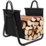 indoor fireplace wood - Amagabeli Fireplace Log Holder with Canvas Tote Carrier Indoor Fire Wood Rack Black Firewood Storage Holders Log Bin Heavy Duty Fire Logs Stacker Basket with Handles Kindling Wood Stove Accessories