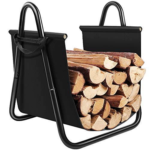 Amagabeli Fireplace Log Holder with Canvas Tote Carrier Indoor Fire Wood Rack Black Firewood Storage...