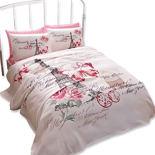 Double/Queen Paris Rose 100% coton Parure de lit Couvre-lit/couvre-lit Lot de 4 pièces