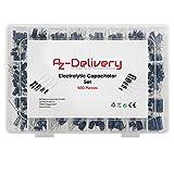 AZDelivery ElKo Surtido Condensador Electrolitico de Aluminio 24 valores 500 piezas 0,1uF - 1000uF con Caja de Almacenamiento con E-Book incluido!