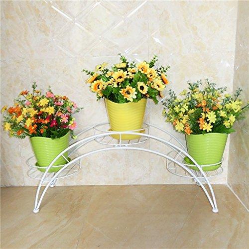 étagère de Rangement Plateau de Fleurs en Fer arqué avec 3 Pots de Fleurs pour Le Salon extérieur, Blanc, Brun Support en Bois Massif (Couleur : Blanc)